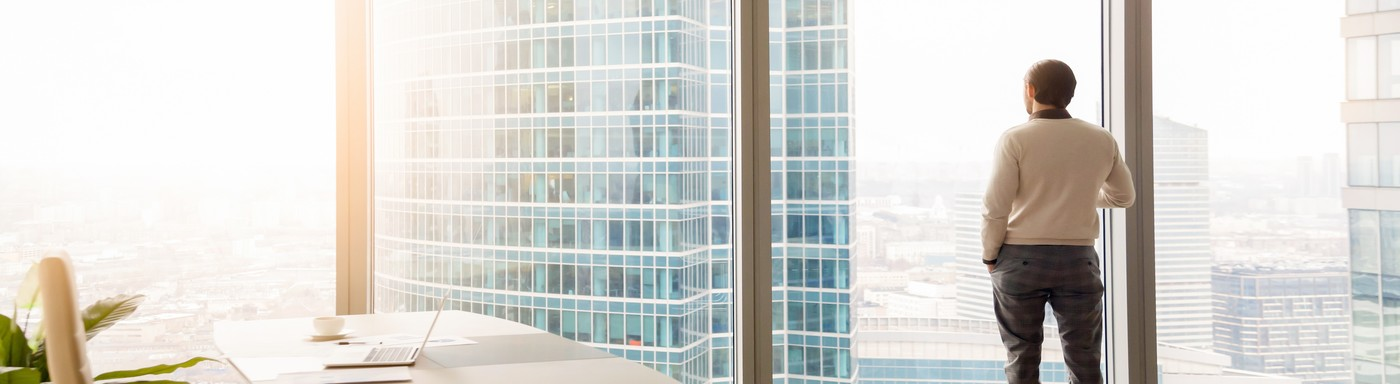 Horizontal image rear view businessman standing looking through panoramic window